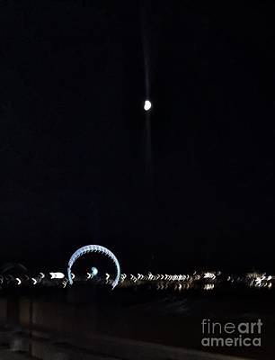 Photograph - The Ferris Wheel And The Moon by Vennie Kocsis