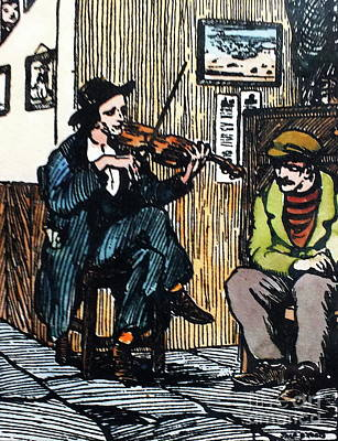 Drawing - The Fiddle Player by Val Byrne