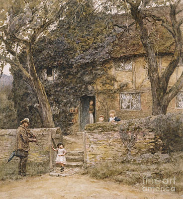Irish Painting - The Fiddler by Helen Allingham
