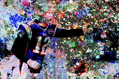 Football Hall Of Fame Mixed Media - The Field General Paint Splatter by Brian Reaves