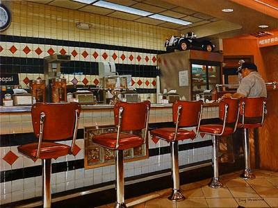 Dining Out Painting - The Fifties Diner 2 by Doug Strickland