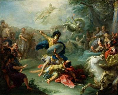 Aeneas Painting - The Fight Between Aeneas And King Turnus by Giacomo del Po