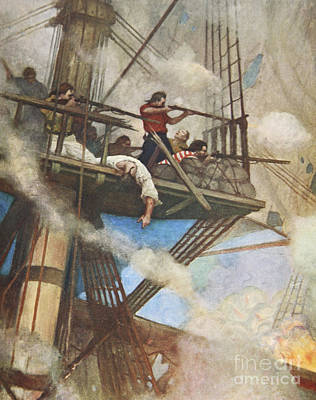 Action Drawing - The Fight In The Fire-tops Against An English Ship by Newell Convers Wyeth