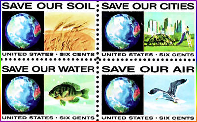 Save Our Water Painting - The Fight Pollution Stamps by Lanjee Chee