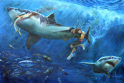 Shark Painting - The Fight by Tom Dauria
