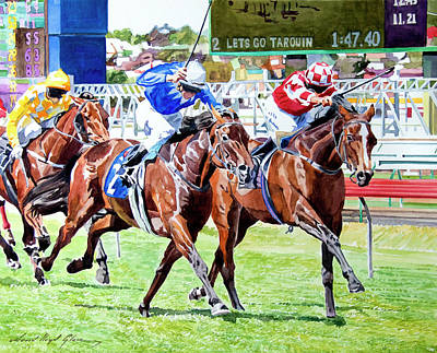 Thoroughbred Horse Painting - The Final Stretch by David Lloyd Glover