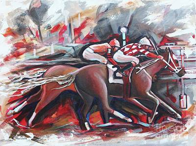 Race Horse Painting - The Final Stretch by Eve  Wheeler