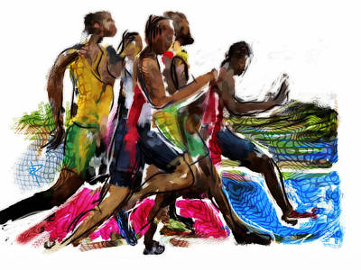 Heat Mixed Media - The Finish Line by Russell Pierce