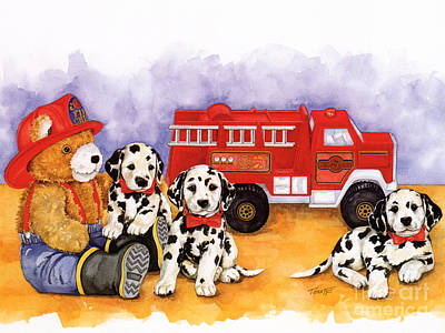 The Fire Brigade No Border Original by TEDDY BEARS ONLY Wendy Tosoff