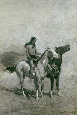 Sling Painting - The Fire-eater Slung His Victim Across His Pony by Frederic Remington