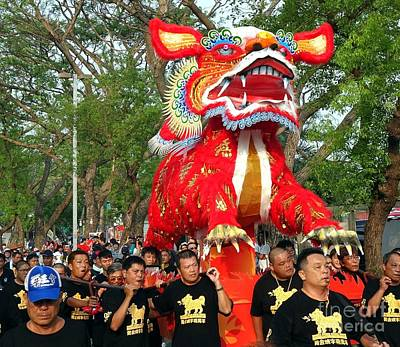 Photograph - The Fire Lion Procession In Southern Taiwan by Yali Shi