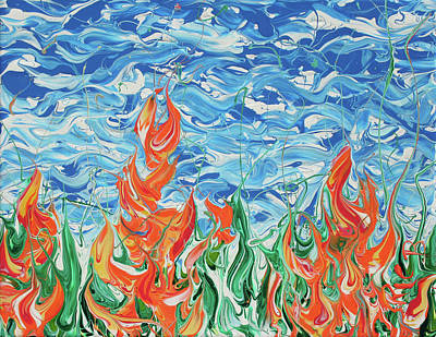 Painting - The Fireflowers Of Mt. Bascobert National Forest by Ric Bascobert