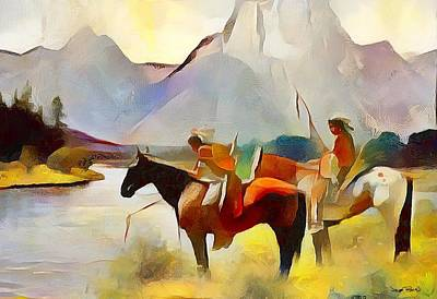 Painting - The First Americans - River Of Life by Wayne Pascall