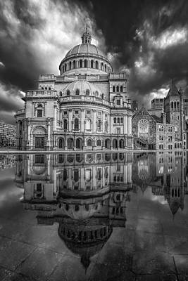 Photograph - The First Church Of Christ Scientist Bw by Susan Candelario