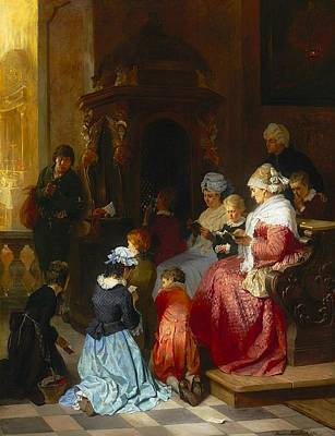 Worship God Painting - The First Confession by Hermann Von Kaulbach