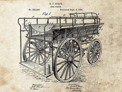 Fire Truck Drawing - The First Fire Wagon by Dan Sproul