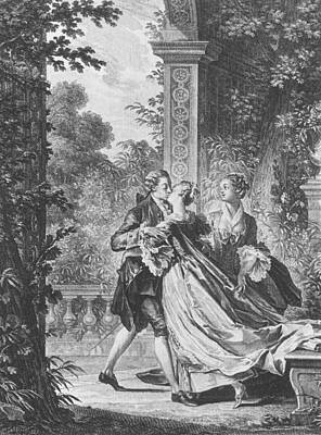 Garden Drawing - The First Kiss Of Love by Jean Michel the Younger Moreau