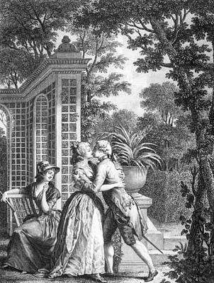 Garden Drawing - The First Kiss Of Love by Nicolas Andre Monsiau