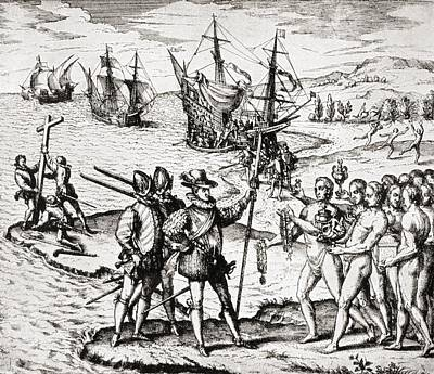 Christopher Columbus Drawing - The First Landing Of Columbus On San by Vintage Design Pics