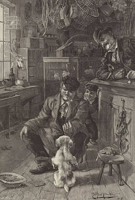 Cute Puppy Drawing - The First Lesson by Louis Fairfax Muckley