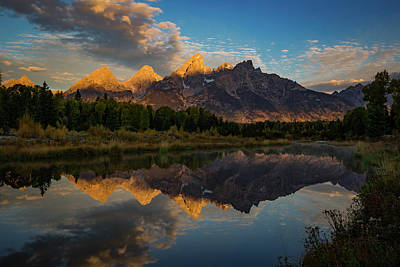 Teton Photograph - The First Light by Edgars Erglis