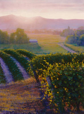 Sunset In Wine Country Painting - The First Light On The Vineyard by Joe Mancuso
