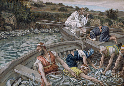 Disciples Painting - The First Miraculous Draught Of Fish by Tissot