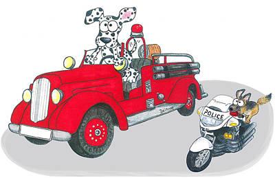 Police Dog Drawing - First Responders   by Barbara  Belknap   Sprague