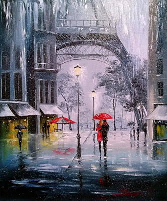 The First Family Painting - The First Snow In Paris by Olha Darchuk