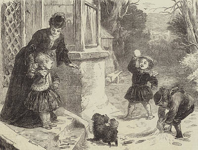 Playing Drawing - The First Snowball by Horace Petherick