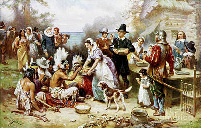 18th Century Mixed Media - The First Thanksgiving by Jean Leon Ferris