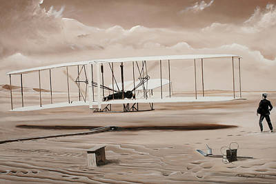 Historic Aviation Painting - The First To Fly by Kenneth Young