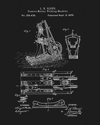 Muscle Mixed Media - The First Treadmill Patent by Dan Sproul