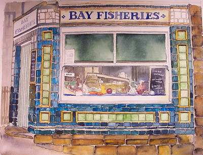 The Fish And Chip Shop Art Print by Victoria Heryet