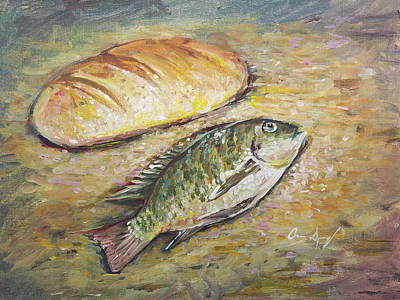 Painting - The Fish And The Bread by Aaron Spong