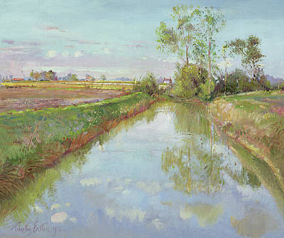 Reflecting Water Painting - The Fish Pool, Autumn by Timothy Easton
