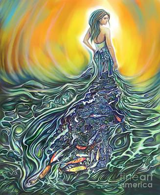 Koi Digital Art - The Fish Wife by Julianne Black