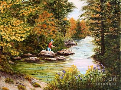 Art Print featuring the painting The Fisher Boy  by Judy Filarecki