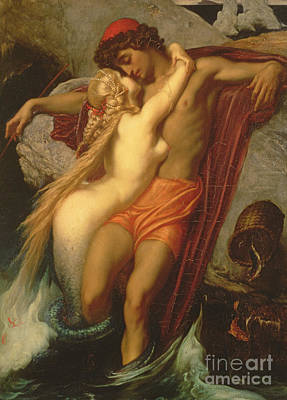 Goethe Painting - The Fisherman And The Siren by Frederic Leighton