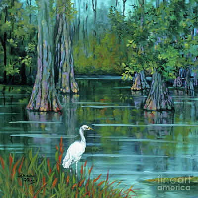 Cypress Swamp Painting - The Fisherman by Dianne Parks