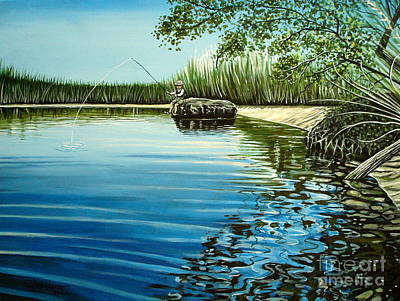 Fish Painting - The Fisherman by Elizabeth Robinette Tyndall