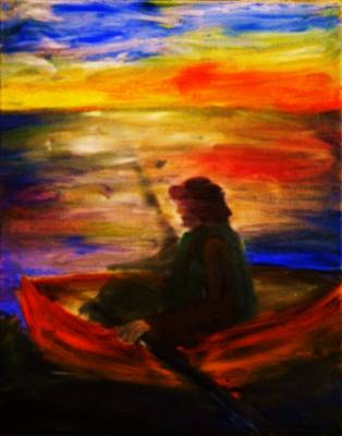 Art Print featuring the painting The Fisherman by Evelina Popilian