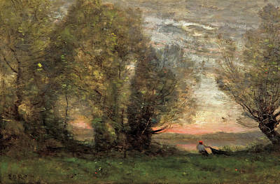 The Fisherman - Evening Effect Art Print by Camille Corot