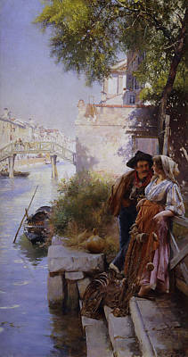 The Fisherman's Courtship Print by Henry Woods
