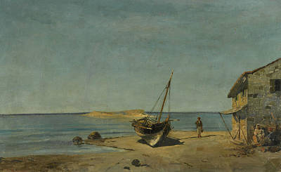 Painting - The Fisherman's Home On The Beach by Konstantinos Volanakis