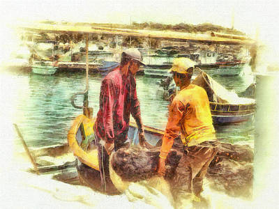 Digital Art - The Fishermen by Leigh Kemp