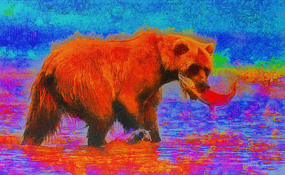 Tooth Painting - The Fishing Bear - Pa by Leonardo Digenio