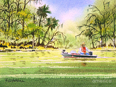 Tennessee River Painting - The Fishing Is Done - Heading Home by Bill Holkham