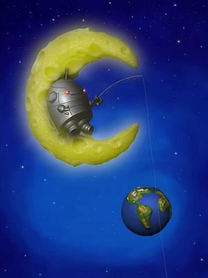 Childrens Books Digital Art - The Fishing Moon by Michael Knight