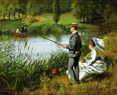 Woman Fishing Painting - The Fishing Party by MotionAge Designs